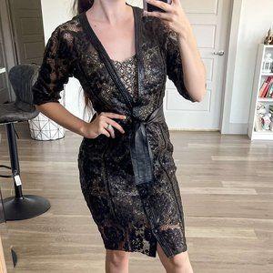 NEW Byron Lars Beaty Mark Faux Leather Black Dress
